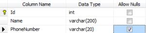 User database table