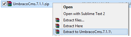 Extract Umbraco source code to temporary location