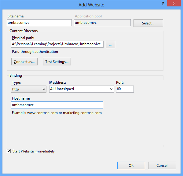 Add a Website - Configuration Dialog in IIS