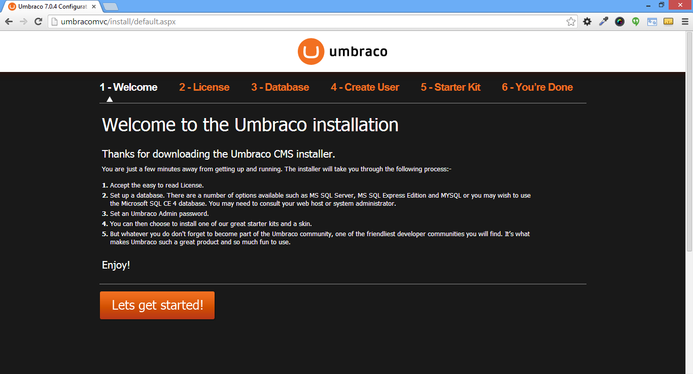 Open browser and start umbraco installation
