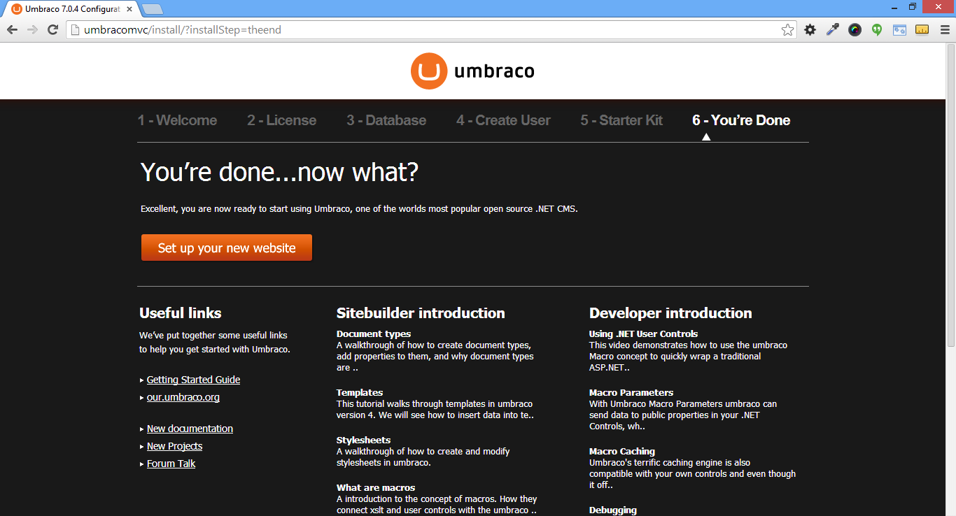 Umbraco Installation final step